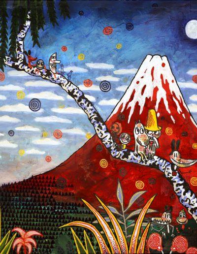 Moomins au pied du Mont Fuji (hommage à Hokusai), 2010.