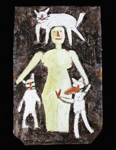 Femme rose et trois chats blancs n°3, 2008.
