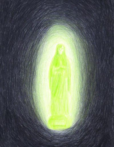 Objets, Vierge de Lourdes de Tante Mimi, 2017.