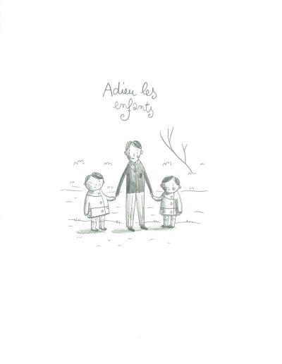 Helene-Becquelin_Adieu-les-enfants_08-09–30-09-2017_Mine-de-plomb-sur-Lana-Caligraphie_Adieu-les-enfants_24x16cm_2017