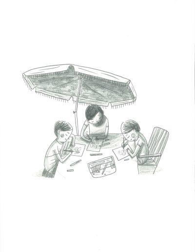 Vacances, Dessin sous le parasol, 2017.