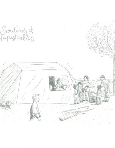 Vacances, Papa monte la tente, 2017.