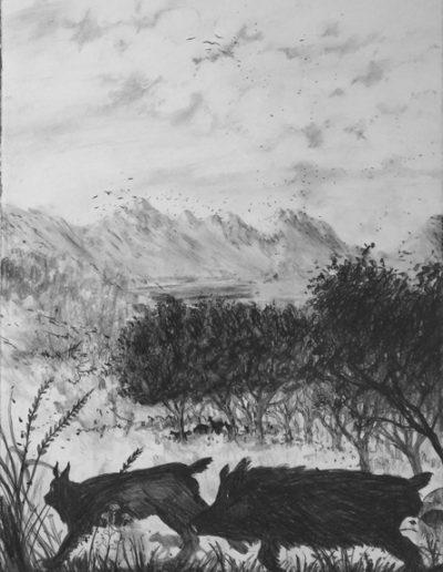 Les animaux de distance, Triptyque 3, 2015.